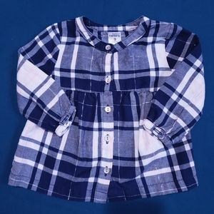 9M Plaid Blouse with Silver Carter's Pink Navy